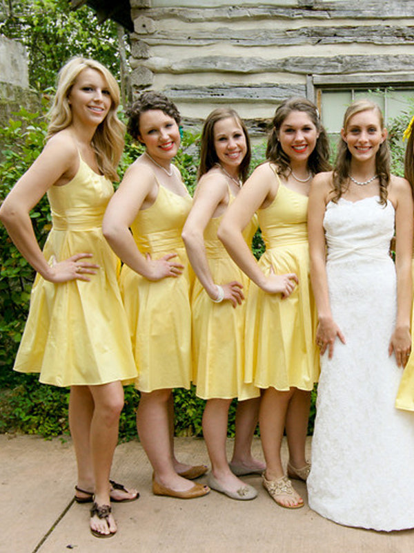 Cheap Yellow Spaghetti Strap Short Bridesmaid Dresses , BW0488