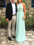 Chic Mint Green Halter Backless Floor Length Evening Prom Dresses, BW0529