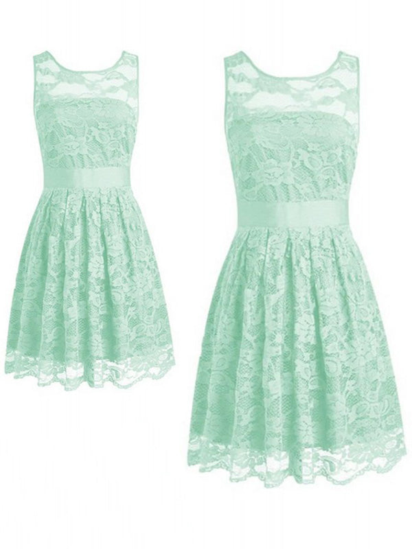 Simple Mint Green Lace Sleeveless Short Bridesmaid Dresses , BW0478