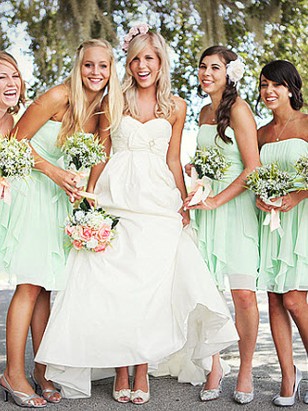 Cheap Mint Green Straight Short Bridesmaid Dresses , BW0480