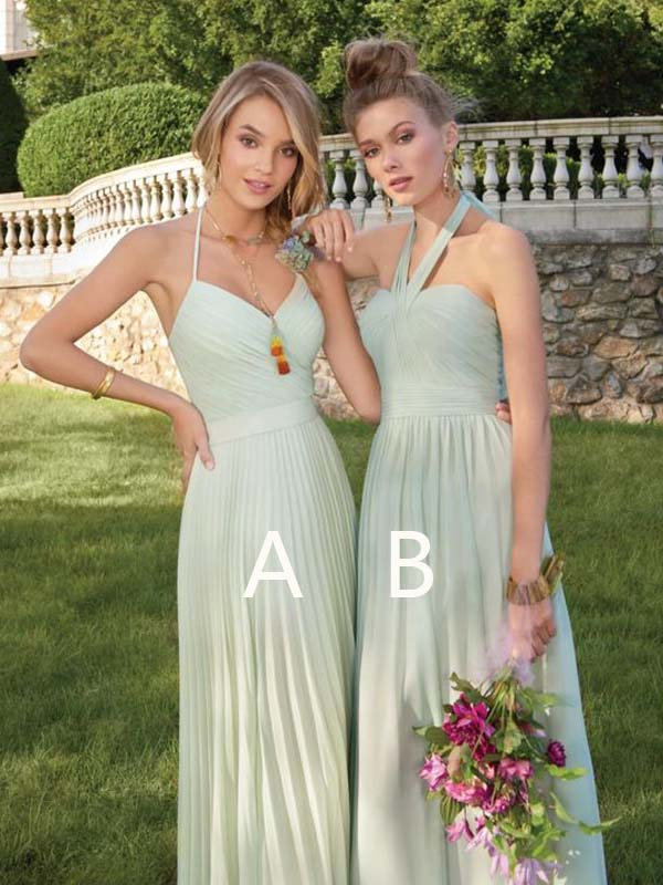 Summer Chic Mint Green Halter Long Bridesmaid Dresses, BW0166