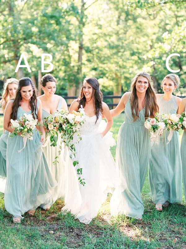 Summer Mismatched V-Neck & Halter Long Bridesmaid Dresses, BW0165