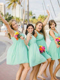 Cheap V-Neck Mint Green Short Bridesmaid Dresses , BW0424