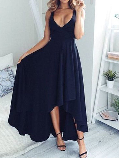 Simple Navy Blue V-neck High Low Long Evening Prom Dresses, BW0082