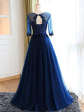 Affordable Navy Blue Lace Applique Top Long Evening Prom Dresses, BW0227