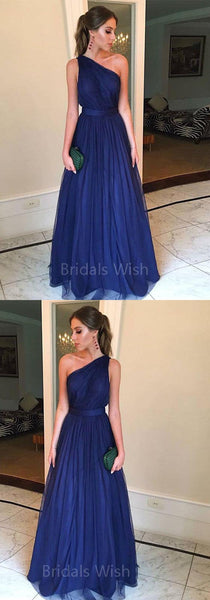 Cheap Navy Blue One Shoulder Long Evening Prom Dresses, BW0603