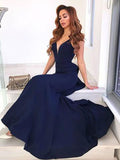 Charming V-Neck Backless Mermaid Long Evening Prom Dresses, BW0620
