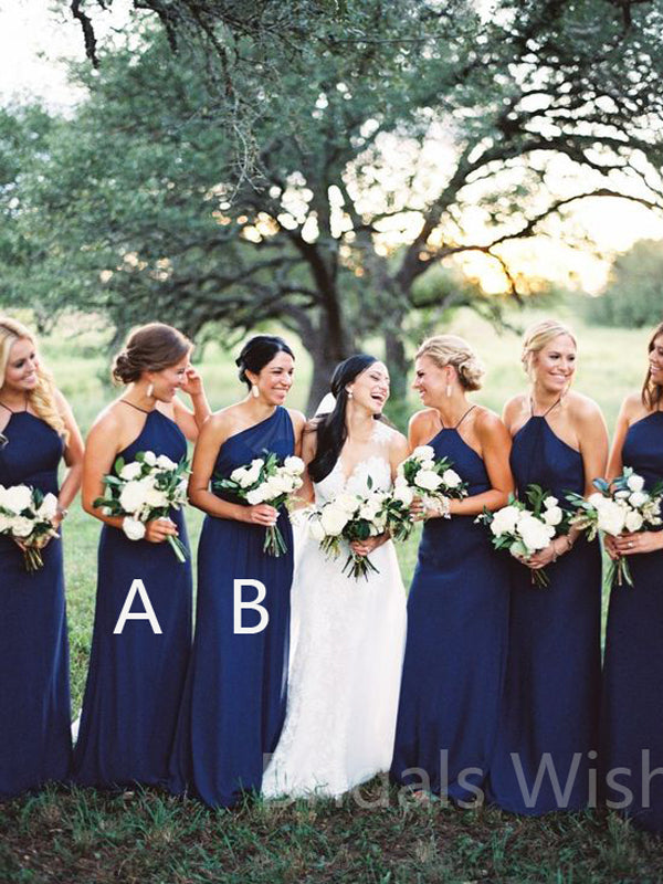 Cheap Navy Blue Halter &One Shoulder Long Bridesmaid Dresses, BW0153