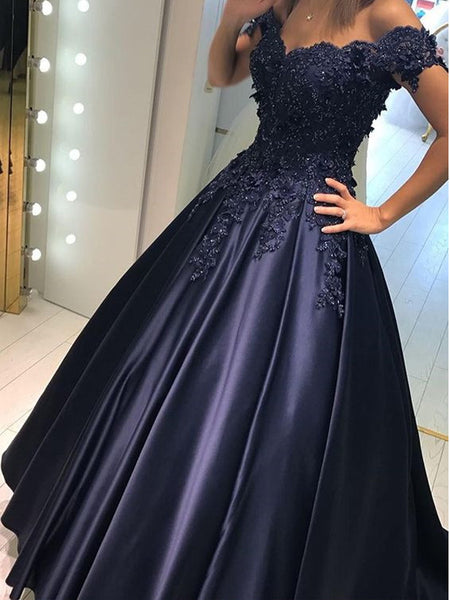 Navy Blue Applique Lace Top Off The Shoulder Long Evening Prom Dresses, BW0298