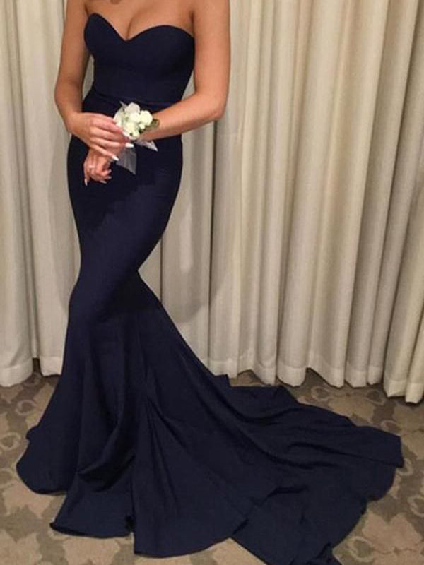 Sexy Sweet Heart Navy Blue Mermaid Sweep Train Evening Prom Dresses, BW0189