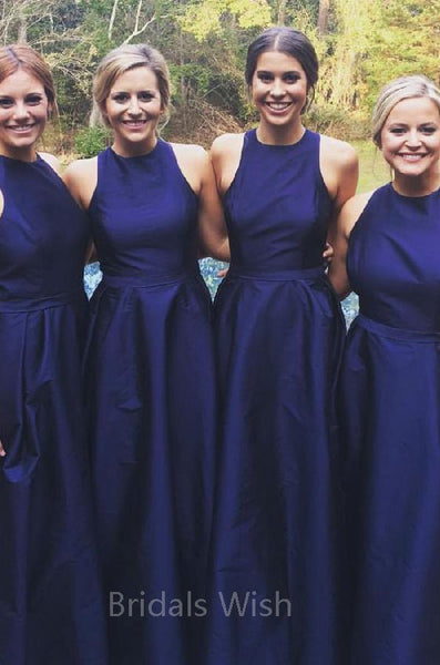 Simple Navy Blue Sleeveless Long Bridesmaid Dresses , BW0456