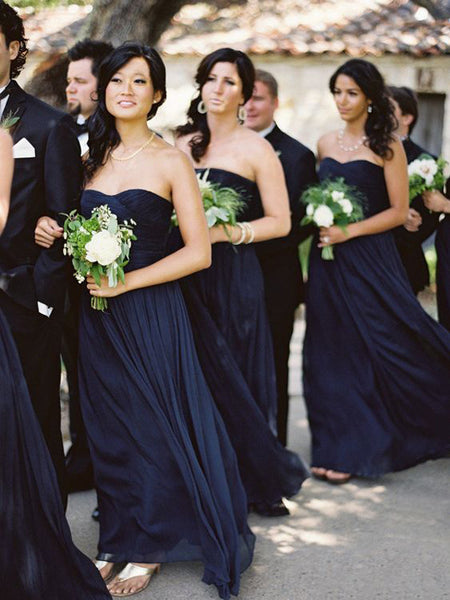 Cheap Navy Blue Sweet Heart Long Bridesmaid Dresses , BW0460