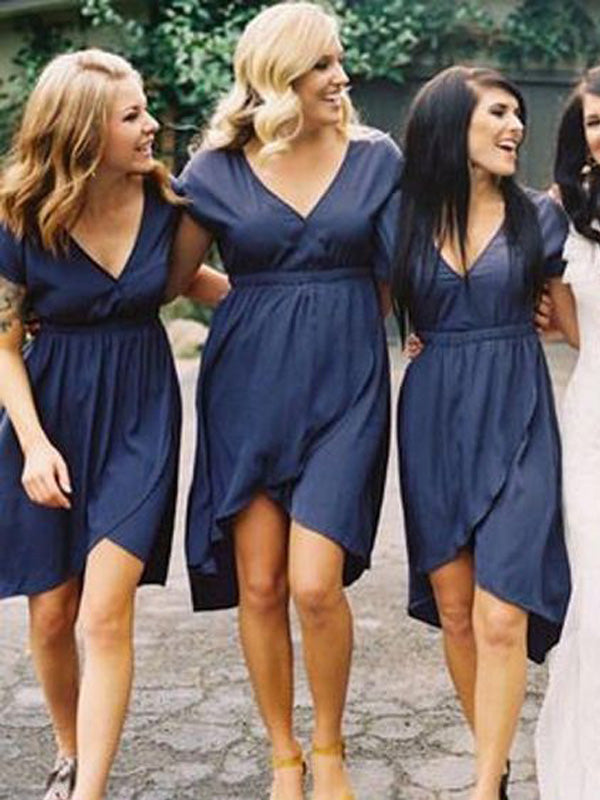 Simple Navy Blue V-Neck High-Low Short Bridesmaid Dresses , BW0464