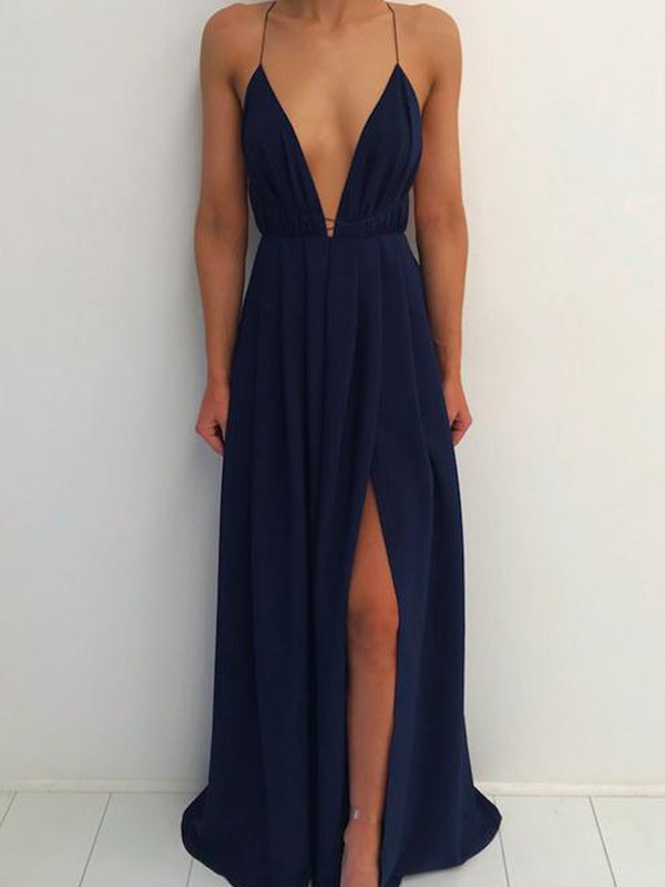 Simple Navy Blue Spaghetti Strap Deep V-Neck Backless Side Slit Long Evening Prom Dresses, BW0537