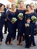 Charming Navy Blue Lace Off the Shoulder Long Sleeves Mermaid Long Bridesmaid Dresses , BW0462