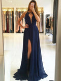 Pretty Navy Blue Lace Top Deep V-Neck Halter Side Slit Evening Prom Dresses, BW0535