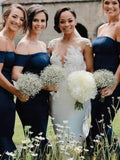 Elegant Navy Blue Off the Shoulder Mermaid Tea Length Bridesmaid Dresses , BW0459