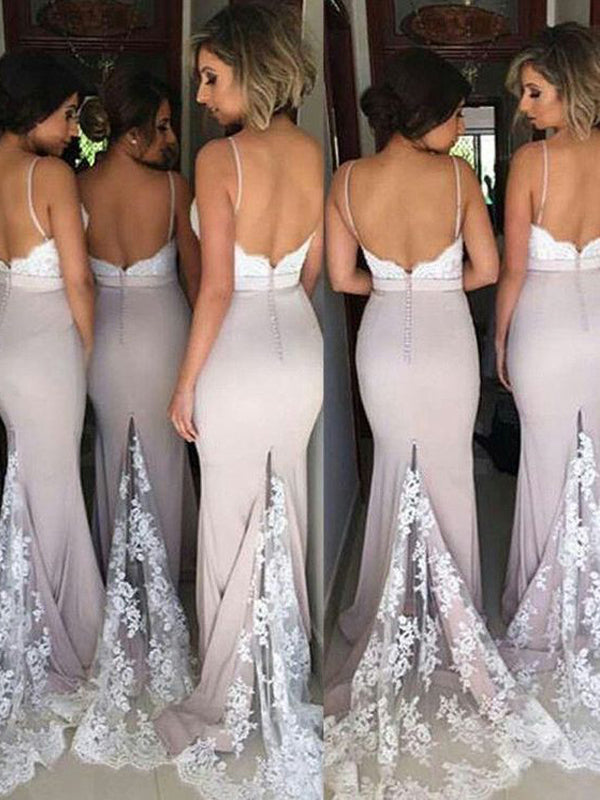 Unique Lace Top Spaghetti Strap Long Bridesmaid Dresses, BW0250