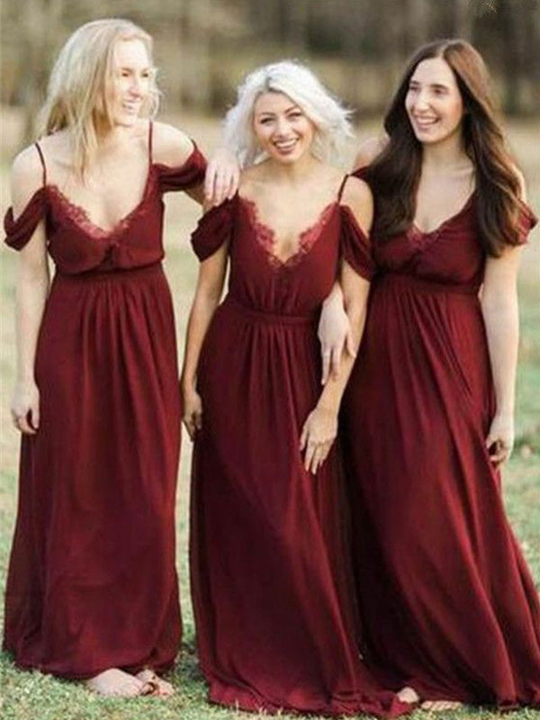 Popular Red Spaghetti Strap Off the Shoulder V-neck Long Bridesmaid Dresses , BW0468