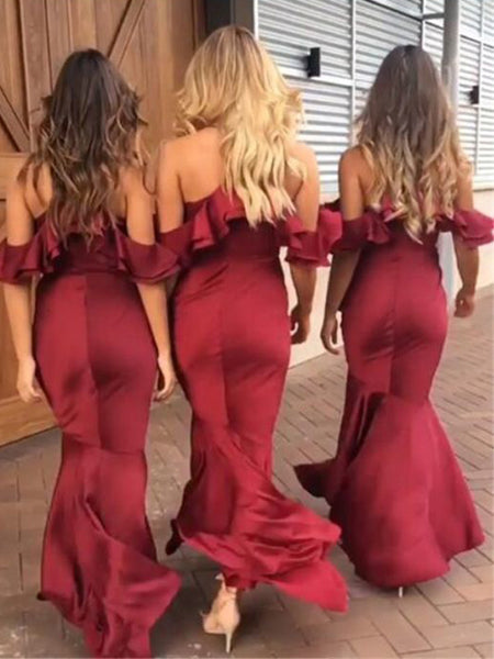 Unique Spaghetti Strap Mermaid Off the Shoulder Deep V-Neck Long Bridesmaid Dresses , BW0466
