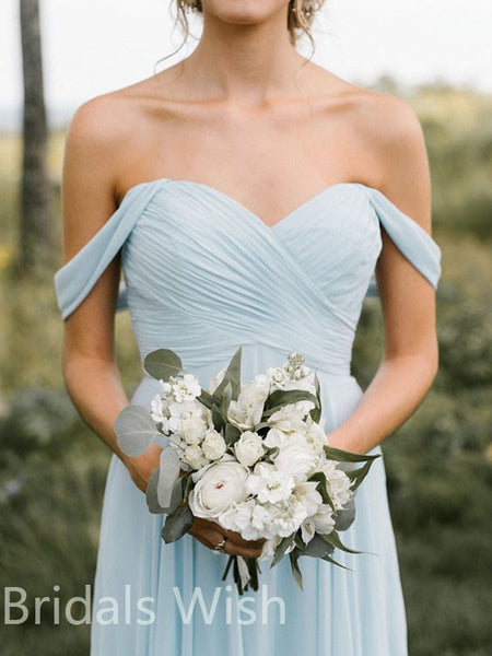 Elegant Blue and White Summer Chic Long Bridesmaid Dresses , BW0069