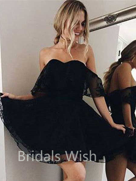 A-Line Off The Shoulder Black Organza lace with Appliques Short Homecoming Dresses, BW0093
