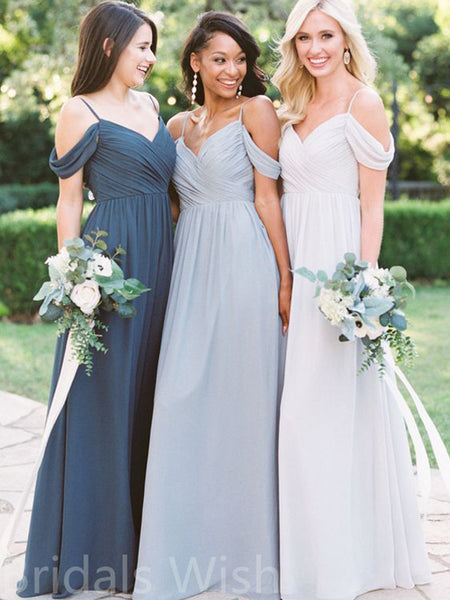 Cheap Off the Shoulder Spaghetti Strap Long Bridesmaid Dresses, BW0154