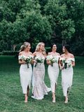 Gorgeous Off the Shoulder Split Ankle Length Bridesmaid Dresses , BW0452