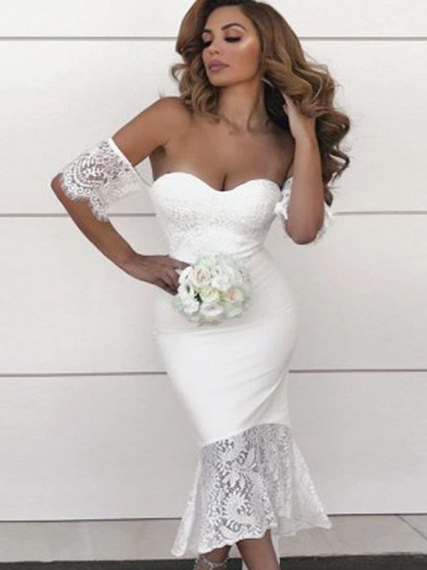 Pretty White Off the Shoulder Lace Mermaid Bridesmaid Dresses , BW0497