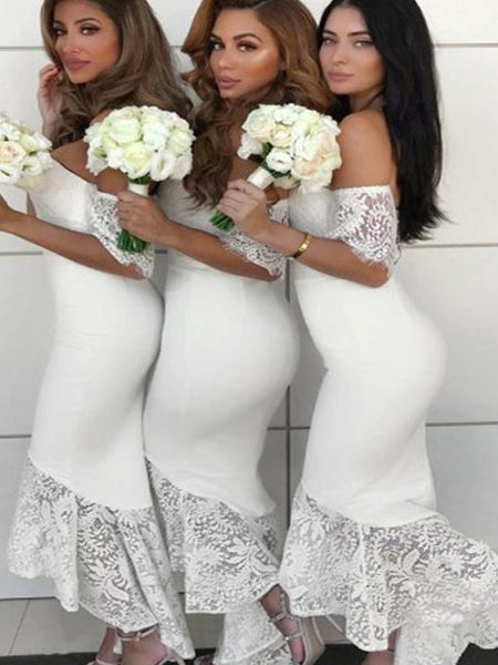 Pretty Off the Shoulder Lace Mermaid Bridesmaid Dresses , BW0497