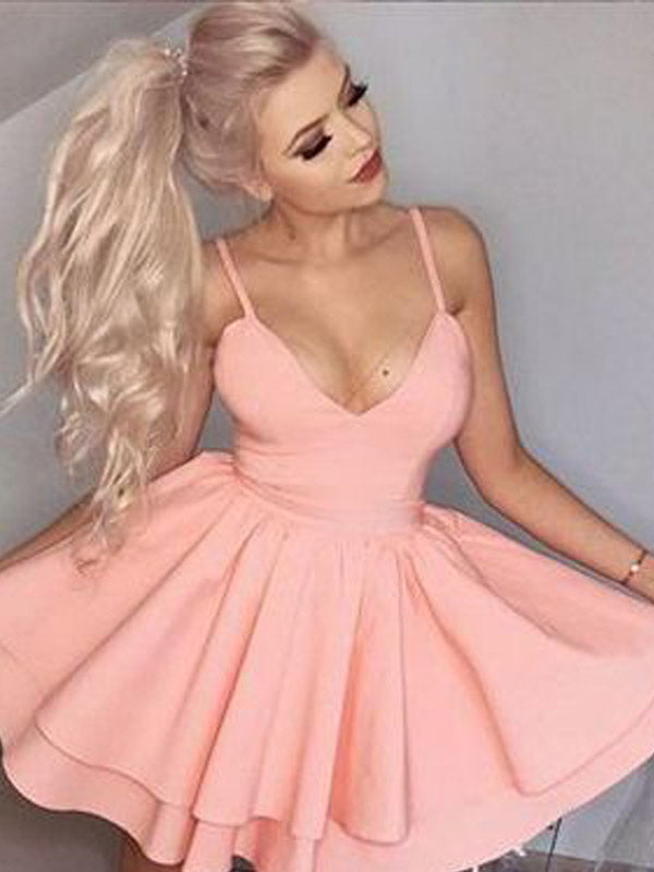 Lovely Spaghetti Strap Pink V-Neck Short Homecoming Dresses, BW0101