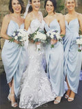 Pretty Pale Blue Spaghetti Strap V-Neck Long Bridesmaid Dresses , BW0477
