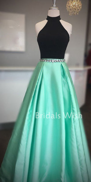 Charming Black Top Halter Green Satin  Long Prom Dress EW0153