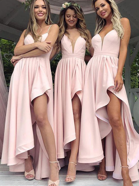 Unique Pink Spaghetti Strap Deep V-Neck High-Low Bridesmaid Dresses , BW0481
