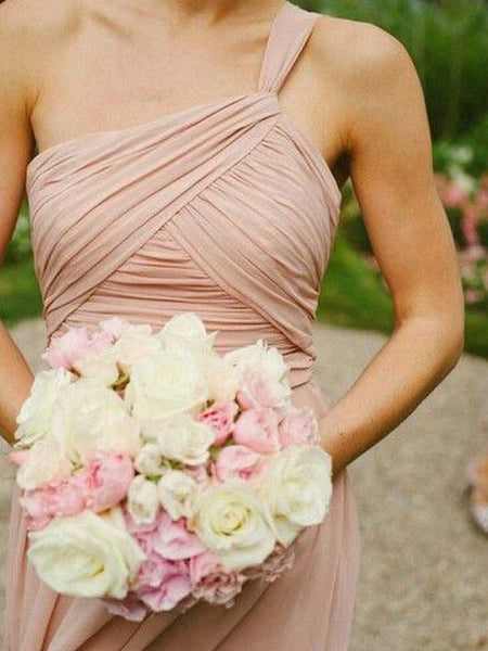 Mismatched One Shoulder Pink Long Bridesmaid Dresses , BW0404