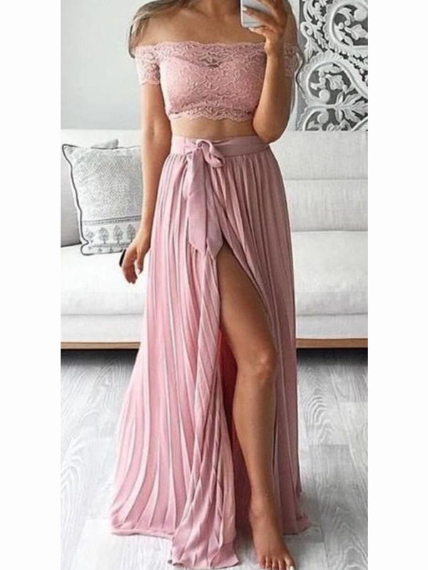Dusty Pink Two Pieces Lace Top Side Slit Long Evening Prom Dresses, BW0351