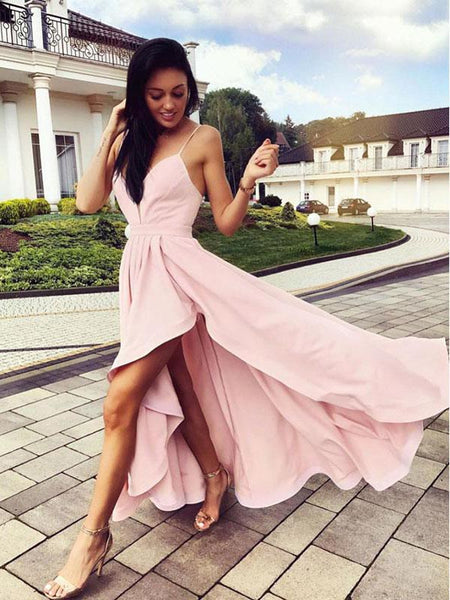 Pink Spaghetti Strap V-Neck High-Low Long Evening Prom Dresses, BW0610