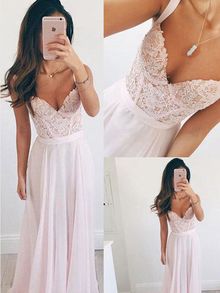 Popular Pink Spaghetti Strap Lace Top Sweet Heart Long Evening Prom Dresses, BW0232