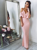 Pretty Pink Spaghetti Strap Off the Shoulder Mermaid Long Evening Prom Dresses, BW0571