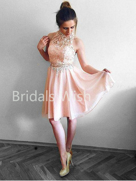 Pink Lace Top High-neck Chiffon Short Homecoming Dresses, BW0064