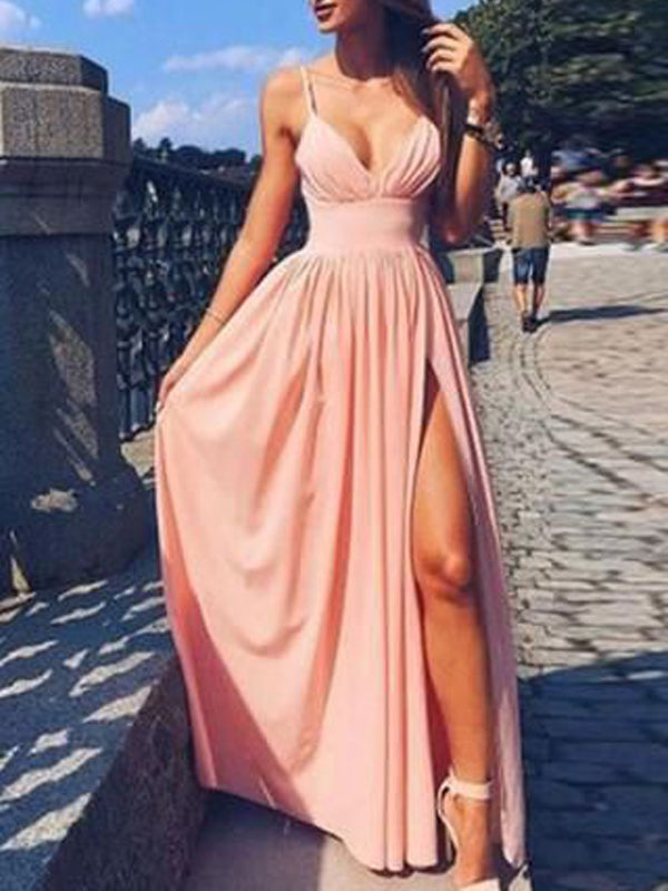 Simple Pink Spaghetti Strap V-Neck Side Slit Long Evening Prom Dresses, BW0103