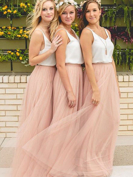 Cheap Scoop Neck Pink&White Tulle Long Bridesmaid Dresses , BW0137