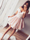 Cheap Pink V-neck Off-The-Shoulder Unique Short Homecoming Dresses, BW0099