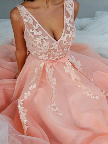 Simple Pink Applique V-Neck Long Evening Prom Dresses, BW0350