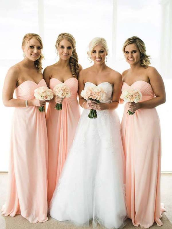 Simple Sweet Heart Pink Long Bridesmaid Dresses , BW0405