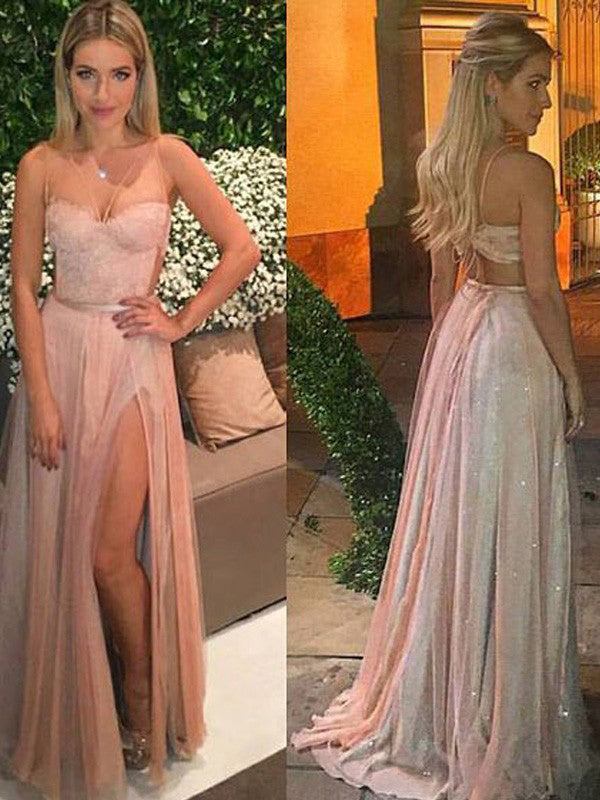 Pink Lace Top Spaghetti Strap Sweet Heart Side Slit Long Evening Prom Dresses, BW0349