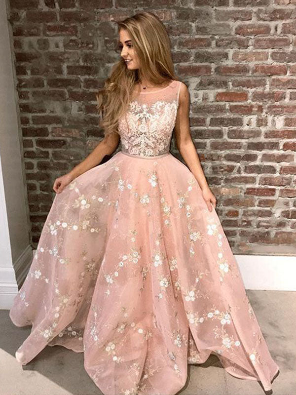 Pink Applique Illusion Sleeveless Long Evening Prom Dresses, BW0291
