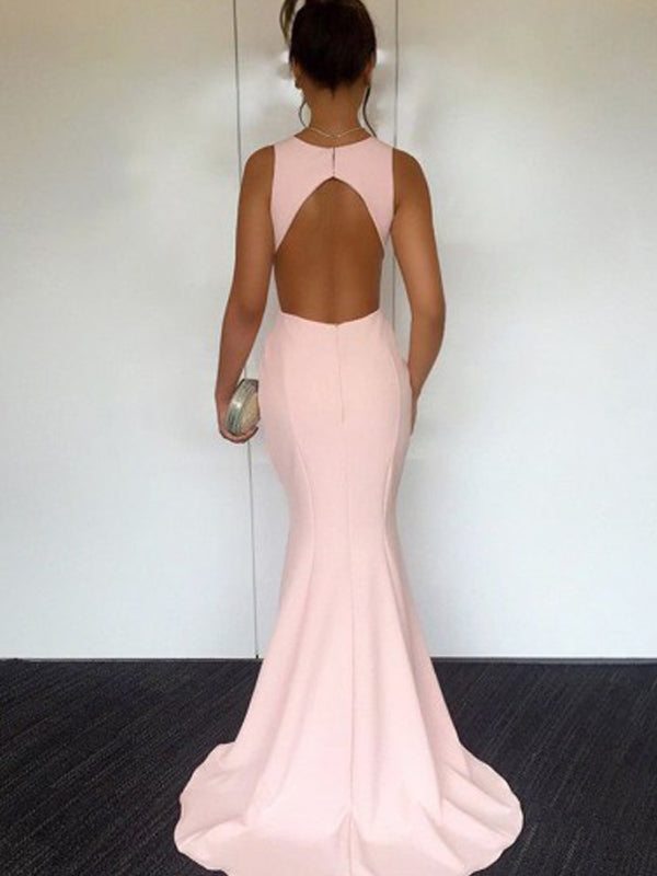 Elegant Pink Sleeveless Mermaid Open Back Sweep Train Evening Prom Dresses, BW0559