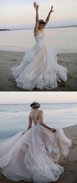 Charming Sweet Heart Lace Back Applique Wedding Dresses, BW0641