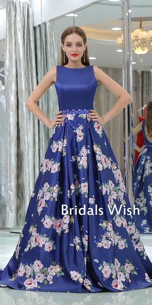 Popular Bateau-neck Sleeveless Blue Satin Long Prom Dress EW0190